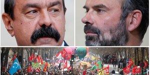 Collage photos Philippe Martinez, Edouard Philippe, manifestation contre la réforme des retraites du 5 décembre 2019
