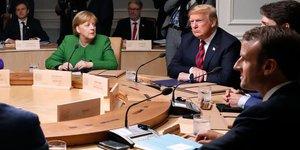 Merkel, Trump, Macron, guerre commerciale,