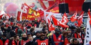 Paris, le 24 janvier 2020. Le syndicat FO participe à la mobilisation contre le projet de réforme des retraites