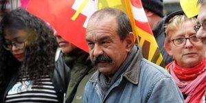 Philippe Martinez, leader de la CGT, lors d'une manifestation contre la réforme des retraites, le 24 septembre 2019, à Paris